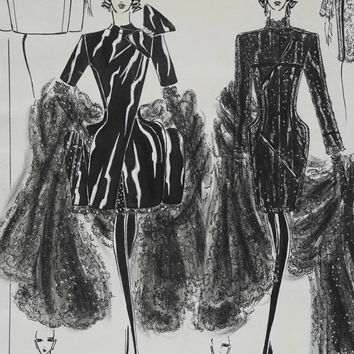 Little Black Dress Fashion Illustration. Haute Couture Fashion Sketch. Fashion Designer Drawing.