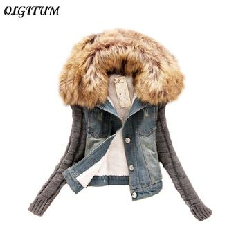 2017 Women Spring Autumn Short Denim Jacket plus size Women Winter Slim Yarn Large Fur Collar Lamb Cotton Denim Jeans Outerwear