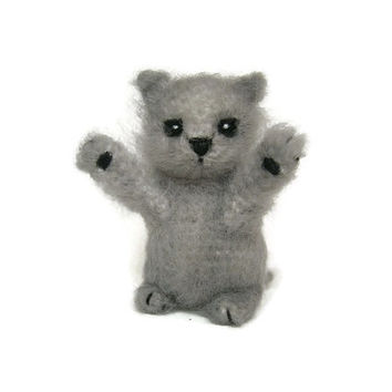 Gray Plush Kitten Cat Stuffed Animal Cats Gift Kitten Plush Cat Cute Kitty Home Decor Gift for Her Cute Miniature Kitten Miniature Cat