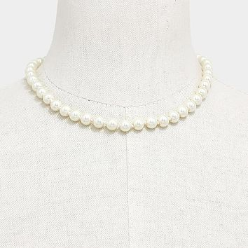 "17"" cream faux glass pearl strand choker necklace 8mm"