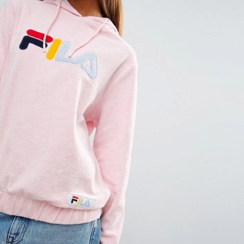 Fila Oversized Hoodie With Colour Logo In Soft Towelling at asos.com