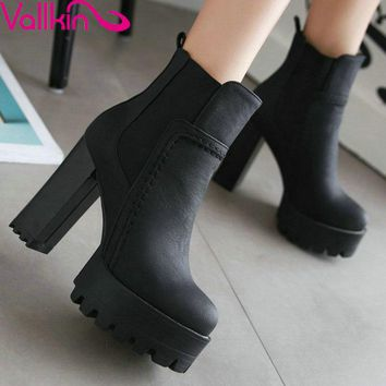 VALLKIN Punk Style Chunky High Heel  Shoes Women Elastic Band Ankle Boots Round Toe Platform Ladies Fashion Boot Plus Size 34-43