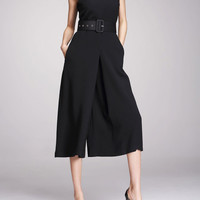 Black Jumpsuit With Wide Legs And V NECK