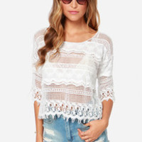 Off to Santorini Ivory Lace Top