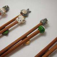 Kawaii Totoro / Cat Chopsticks with rest