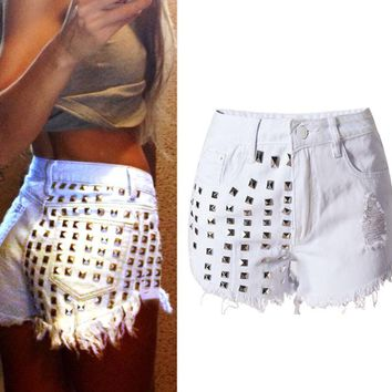 High Waist Denim Riveted Scratched Straight Shorts