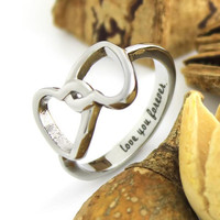 "Infinity Ring Lovers Ring Double Hearts Promise Couples Ring ""Love you forever"""