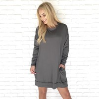Cold Front Olive Sweater Dress