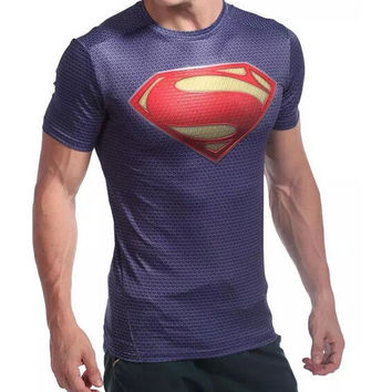 80% OFF Big Sales!Superman Man of Steel Cosplay Functional T-Shirt Breathable fabric sports wear = 1946059908
