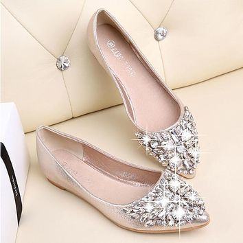Fashion women Ballet shoes leisure spring pointy ballerina bling Rhinestone  flats shoes princess shiny Crystal wedding ad1347066