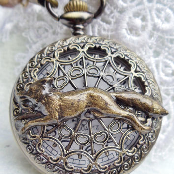 Fox pocket watch, mens pocket watch with running fox mounted on front case in antique bronze