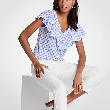 Diagonal Check Ruffle V-Neck Top | Ann Taylor