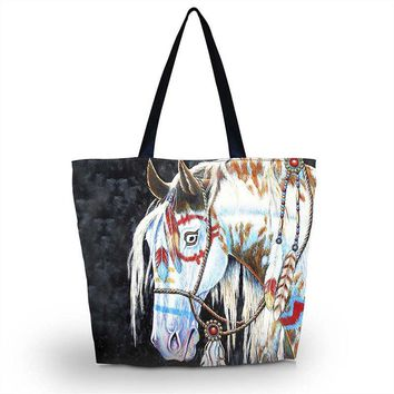 Horse Soft Foldable Tote Women Shopping Bag Beach Tote Shoulder Bag Purse Handbag Travel School Grocery Packing Recyclable Bag