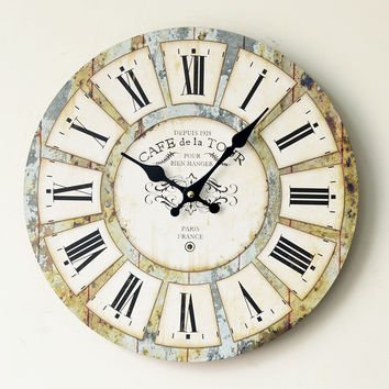 Creative Roman Wall Sticker Decoration Quiet Clock [4914940868]