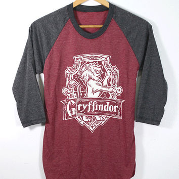 NEW Gryffindor Shirt Harry Potter Shirts O-Neck Baseball Raglan Sleeves Unisex Adult Size S M L