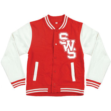 Sleeping With Sirens Men's  Float Varsity Jacket Red Rockabilia
