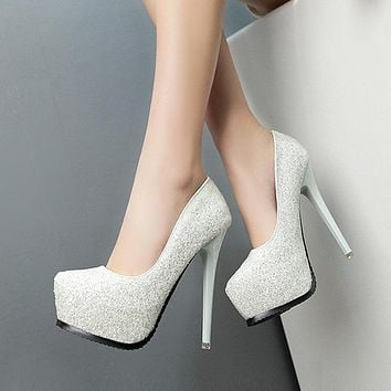 Shinning Sequins Round Toe Platform Stiletto High Heels Party Shoes