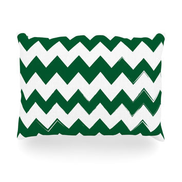 "KESS Original ""Candy Cane Green"" Chevron Oblong Pillow"
