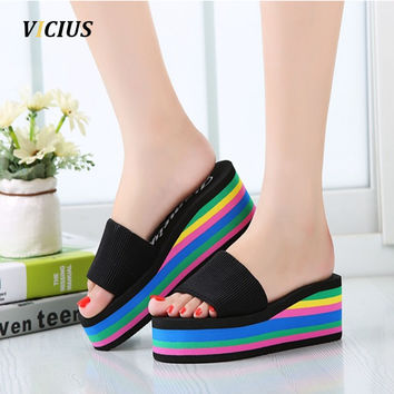 Women Sandals Platform Rainbow Non-Slip Thick Soled Female Wedge Women Slippers Summer Beach Slippers T0245