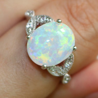 Size 5 6 7 8 9 10 11 925 Sterling Silver Oval Cut Fire Opal Ring Wedding Engagement Promise Statement Anniversary Mother's Day