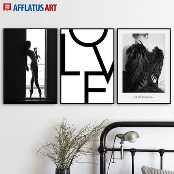 Girl Angel Quote Landscape Wall Art Canvas Painting Nordic Posters And Prints Black White Wall Pictures For Living Room Decor