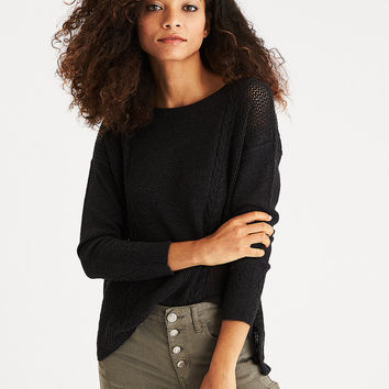 AEO Mixed Stitch Cable Sweater, Charcoal