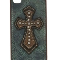 M&F® Distressed Blue with Brown Cross iPhone 4 Case