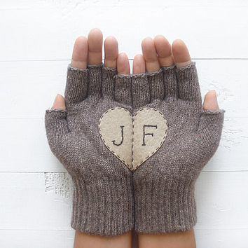 VALENTINE'S DAY Gift, Personalized, Monogram Gloves, Custom, Romantic Gift, Heart Gloves, Beige, Initials, Customize, Hearts, Love, Special