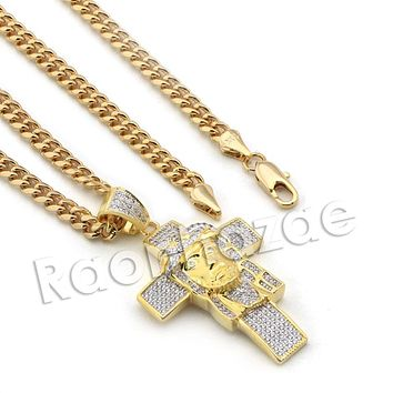Lab diamond Micro Pave Jesus Head Cross Pendant w/ Miami Cuban Chain BR112