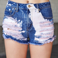 Bleached Distressed Denim Cutoffs