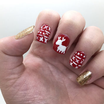 Christmas Sweater Fake nails - Glue on Nails - Shiny/Glossy or Matte - Different Shapes