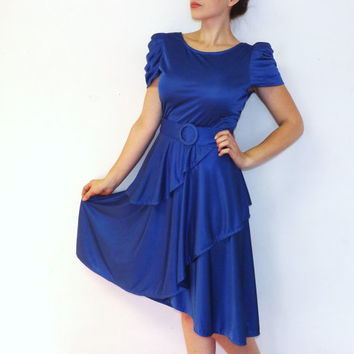 Vintage 70s 80s Size Medium Royal Blue Slinky Peplum Dress Retro 30s 40s Style Gown Art Deco Hipster Wiggle Dress Glam Disco Marilyn Monroe