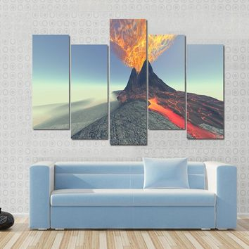 A Volcano Comes To Life With Fire, Smoke And Lava Multi Panel Canvas Wall Art
