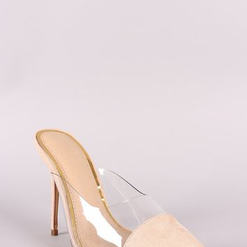 Embellished Lucite Mules Peep Toe Mule Heels By Liliana | Vegan Suede Open Pointy Toe Stiletto Mule Heel Liliana Clear Trim Pointy Toe Stiletto Mule Heel
