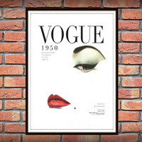 Vintage Vogue Cover, Fashion wall Art, 1950 Edition, Fashion Poster, Digital Download, Printable Art, Retro Poster, Chic Art Printable *85*