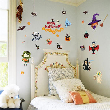 Happy Halloween Vinyl Wall Stickers For Kids Rooms Window Background Home Decor Poster Mural Papers For Halloween Decoration SM6
