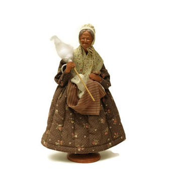 French Santon Shepherdess Doll by Simone Jouglas. Provencal Terracotta Figurine with Lamb. French Traditional Doll. Old Lady Doll.
