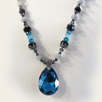 Crystal necklace and Pendant, Black, Pewter, Teal
