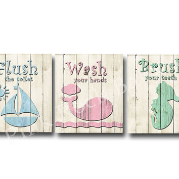 Wood wall decor neutral bathroom art rules Brush wash flush Kids bathroom art children bathroom decor bathroom quotes pink blue green print