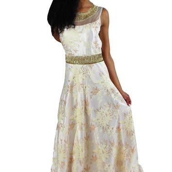 Embellished Party dress in White and gold