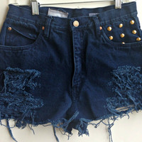 High Waisted Denim Shorts Studded Navy Jean Shorts by shortyshorts