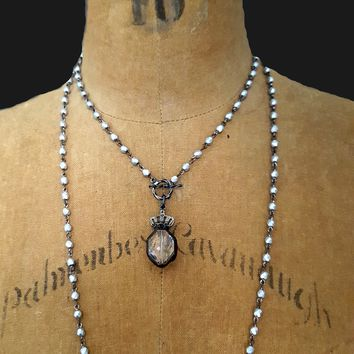 Oxidized Silver Bead Crystal Crown VERY LONG Pendant Necklace