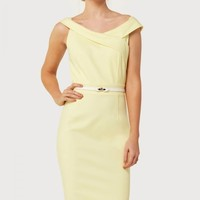 PAPER DOLLS LEMON OFF THE SHOULDER DRESS