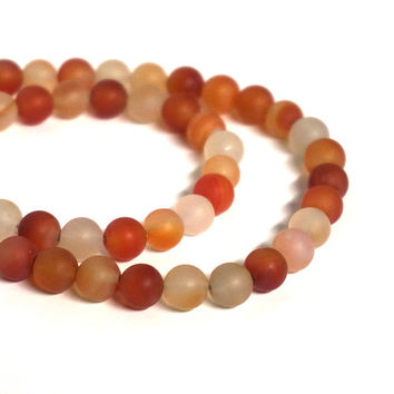 Matte Carnelian 8mm round gemstone beads, full strand (1130s)