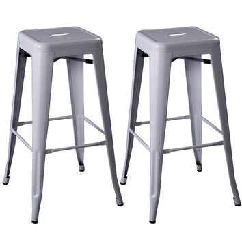 Costway Set of 2 Metal Steel Bar Stools Vintage Antique Style Bar Stool Gray
