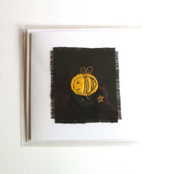 Embroidered card with cute fluffy bee design on white textured card. Blank for your own message. Card for bee lovers. Made in England.
