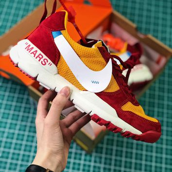 Off White X Tom Sachs X Nikecraft Mars Yar 2.0 Red Yellow White Sport Running Shoes - Sale