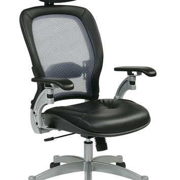 Professional Light AirGrid® Back Chair with Adjustable Headrest and Platinum Finish Accents, Cantilever Arms and V-Back Support