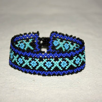 Native American Bracelet Huichol Bracelet Beadwork Huichol Art Mexican Jewelry Blue Bracelet Unisex Hippie Jewelry Hippie Bracelet Authentic