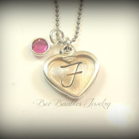 Hand Stamped Jewelry - Heart initial necklace - heart birthstone necklace